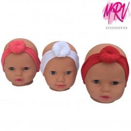 Düz Renk Topuzlu Bebek Saç Bandı